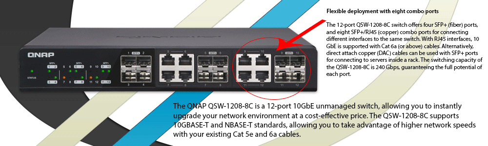QNAP 10GbE QSW-1208-8C Unmanaged Switch